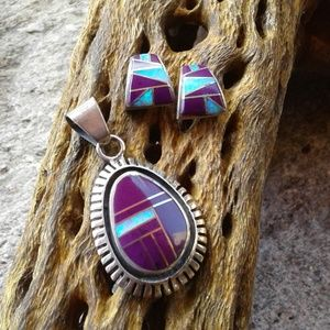 Sterling silver inlaid pendant AND earrings SET